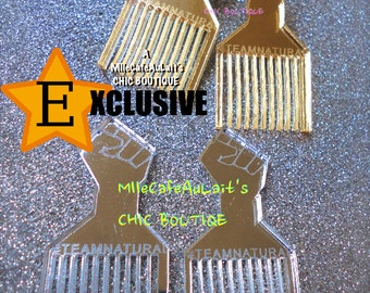 "EXCLUSIVE Mirror Laser Cut  Acrylic Earrings - TEAMNATURAL ""Natural & Proud"" Afro Pic"