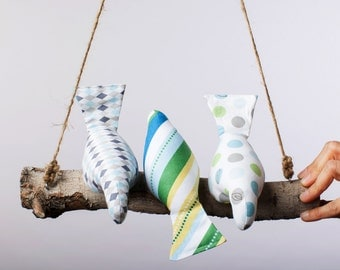 Threes a Crowd Bird Swing, Bird Mobile in subtle blues, grays and greens