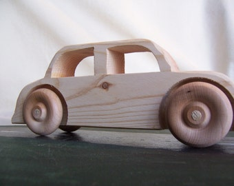Big Wheel Toy Car Sedan Handmade from Upcycled Wood for the Kids, Children