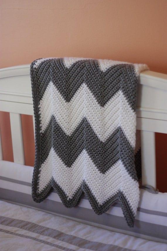 Crochet Pattern Baby Blanket Chevron : Chevron Stripe Baby Blanket Crochet Pattern INSTANT