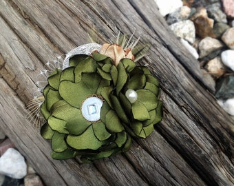 Handmade Vintage Style Hair Flower in Olive Green and Gold