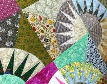 Lap Quilt Blanket Scrappy Green and Pink New York Beauty Quiltsy Handmade