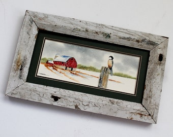 Chickadee on a fence... Red Barn Winter Scene (Framed) 4x8