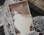 Vintage Photograph - Baby in Long White Dress (possible christening gown) - CDV
