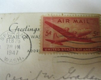 Military Collectible Armed Services 1940s Greetings From State of Washington Geiger Field with 5 Cent US Air Mail Stamp Vintage Post Card