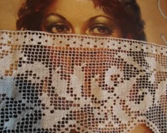 1920's Antique Cotton Off White Filet Lace Trim Piece Handmade Lace Bridal Accessories Romantic Lace Blouse Top