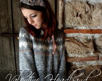 CROCHET PATTERN Heart Headband- crocheted headband, Crochet Valentine Headband, a photo tutorial, valentine crochet,