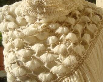 Handmade Crochet Pattern Shawl ...Silver yarn and Mohair.Cream and Yellow