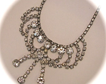 On Sale Vintage Choker Diamond Rhinestone Bling Prom Wedding Pageant Goddess 15 Inch Necklace