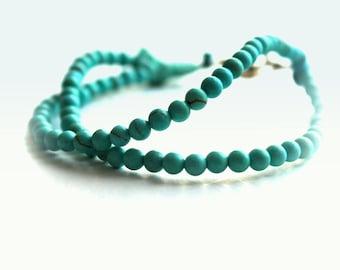 beaded ball bracelet- gemstone blue bracelet- turquoise kids bracelet- beaded turquoise bracelet- gipsy child -FREE SHIPPING- double