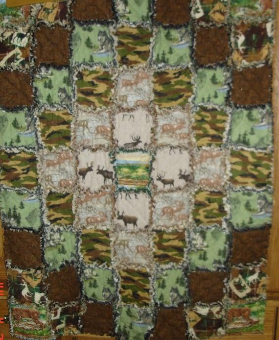 Handmade Rag Quilt Baby Blanket Camo Hunter Big Game Deer
