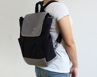SALE - Convertible Backpack / Rucksack in Navy blue and Grey / Diaper bag / Travel Tote / Canvas bag / School / Unisex - iHana