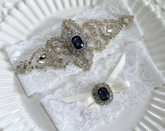 Rhinestone Something Blue jewel beaded applique Wedding garter set. Bridal crystal stretch lace garter set.  BIJOUX SAPPHIRE