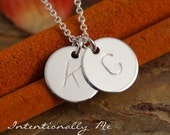 Two Initials Necklace - Sterling Silver Necklace - Hand Stamped