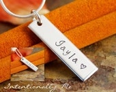 Hand Stamped Necklace - Personalized Mommy Jewelry - Custom Name Tag - Double sided Vertical Tag