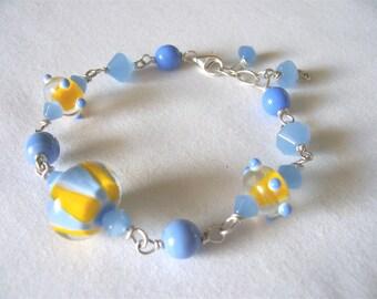Sale! blue bracelet, yellow bracelet, statement bracelet, ooak jewelry, bohemian, Summer 2017 fashion trends, gift idea