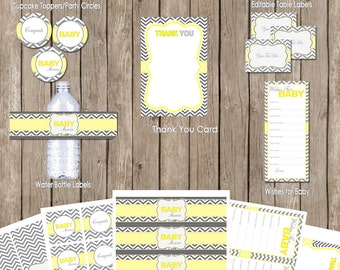 Neutral yellow and gray baby shower package, yellow and grey, chevron baby shower, neutral baby shower, printable,(INSTANT DOWNLOAD)
