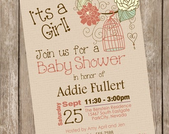 Rustic bird cage baby shower invitation, fall baby shower invitation, pink, brown, mint, rustic, chic, printable invitation bc2