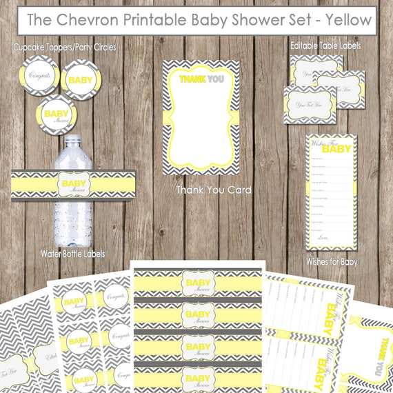 Yellow and gray baby shower package yellow and grey chevron baby