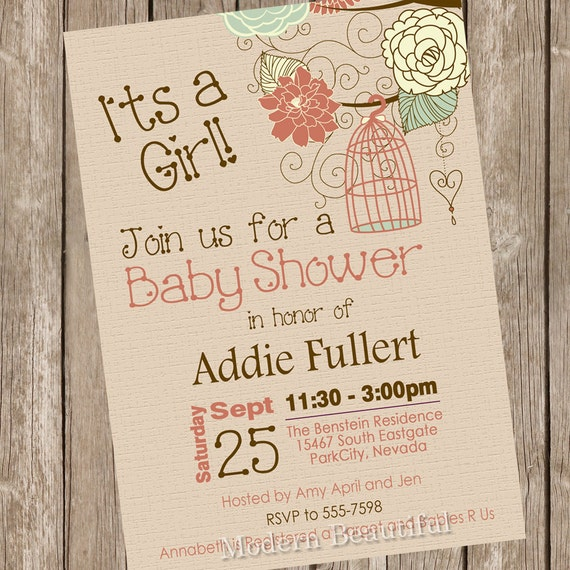 rustic bird cage baby shower invitation fall baby shower invitation