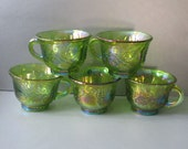 Green Iredescent Carnival Glass Punch Cups - artsix