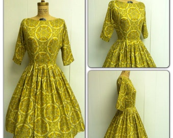 1950s Yellow Dress 50's