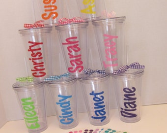 DIY Personalized Acrylic Tumblers, set of 10, polka dot your own tumbler party favor