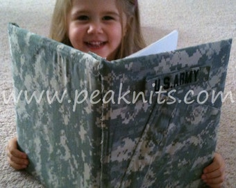 Army Scrapbook, Photo Album - Handmade Military ACU Memory Book - Refillable with Top Loading Pages Upcycled from Army ACU Uniform Top
