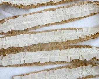 Burlap Ribbon, Ruffled Fabric and Lace Ribbon, Mason Jar Decoration, Bouquet Wrap, Wedding DIY, Shower, Party, Wedding DIY