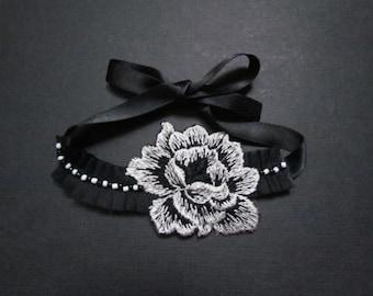 Black Rose Bracelet, Beaded Bracelet, Lace Bracelet, Bridal Jewelry, Wedding Jewellery, Chiffon Bracelet