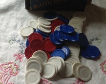 Plastic Game Poker Chips Red White Blue Craft Altered Art
