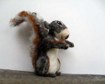 Needle felted grey squirrel