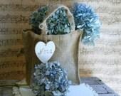 Burlap Flower Girl Basket/Bag Rustic Wedding Decor Personalized Wood Heart Charm