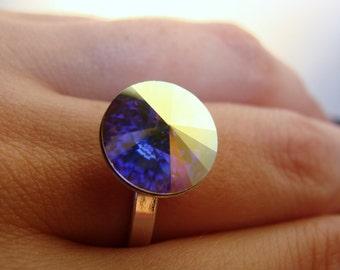 Sterling Silver Swarovski Crystal AB 12 mm Rivoli Ring size 7.5