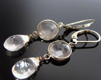 Rose Quartz Bezel Set 925 Sterling Silver Leverback Earrings