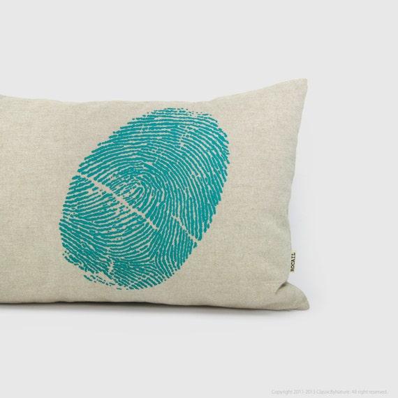 Turquoise & natural beige 12x18 Decorative throw pillow cover | Fingerprint accent pillow case, cushion | industrial, urban, modern decor
