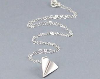 Paper Airplane Necklace, Harry Styles, One Direction, Sterling Silver Necklace