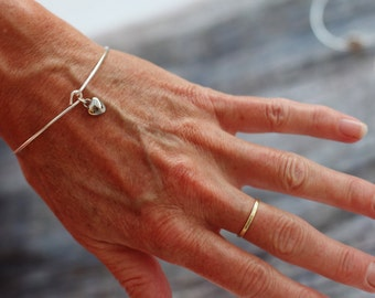 Piece of Heart Bangle, Silver Heart Bangle, bridal bangle, silver bridesmaids bangle, piece of heart bracelet, cute silver heart charm