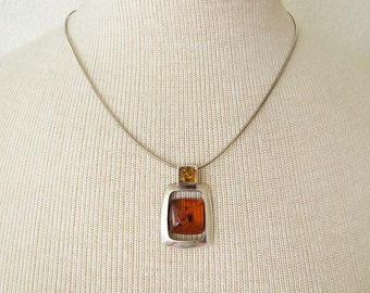Fabulous Modern Amber Square Sterling Silver Pendant with Italian Snake Chain Necklace