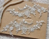 Alencon Lace Appliques Ivory Embroidered Patches With Luxury Silver Embroidery For Wedding Supplies Bridal Hair Flower Headpiece 1 Pair