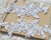 Alencon Lace Appliques White Floral Embroidered Patches For Wedding Supplies Bridal Hair Flower Headpiece 1 Pair