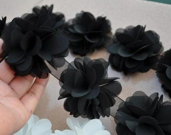Black Chiffon Flower Lace Trim 14pcs Flowers