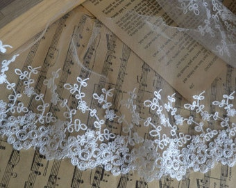 White Floral Embroidery Tulle Gauze Lace Trims 4.9 Inches Wide 2 yards