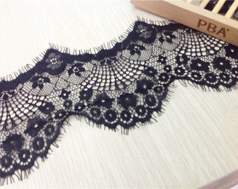Black Eyelash Lace Trim Floral Wave Soft Lace 4.72 Inches Wide 3.3 Yards