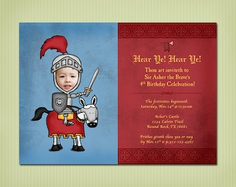 digital knight birthday party invite