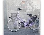 "CIJ Sale - Bicycle Photography, pastels, purple home decor, europe decor, Italy photos,  - ""La Bicicletta"" - 8x8 Fine Art Photograph - ParrishHousePhotos"