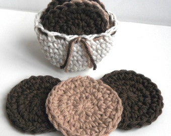 Crochet Scrubbies with Crochet Basket - Set of 7  - Brown, Tan, Off White - 100% Cotton