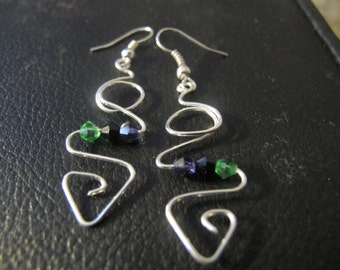 Earrings silver wire wrapped abstract crystals in emerald green, amethyst purple and black