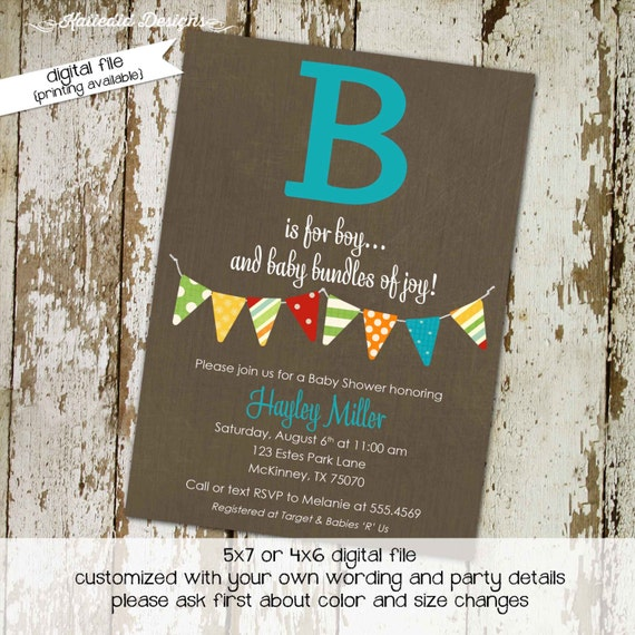 baby boy baby shower invitation B is for boy bunting banner baptism high tea shower baby sprinkle diaper (item1268) shabby chic invitations
