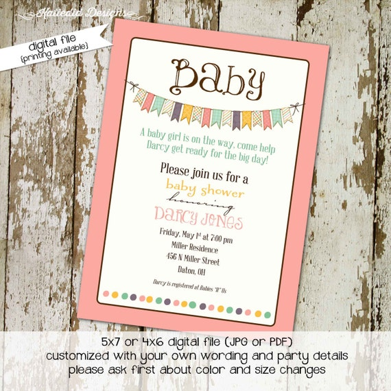 baby girl shower invitations with banner, digital, printable file (item 1334) baby shower invite